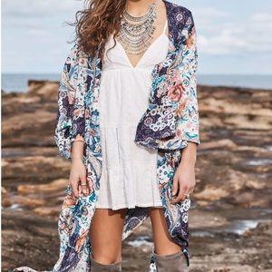 Jaase LF indigo long open floral kimono